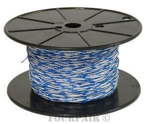 Wire, Blue/White Stripes, 16AWG, MTW, Tinned