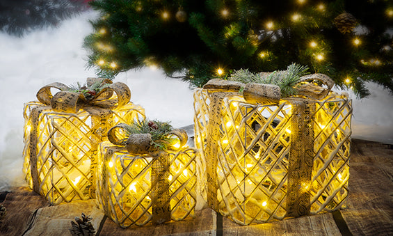 Luxury LED Christmas Gold Boxes