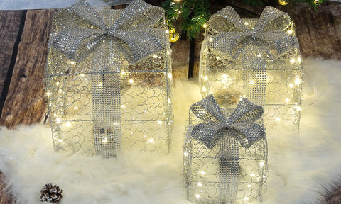 Silver LED Christmas Boxes