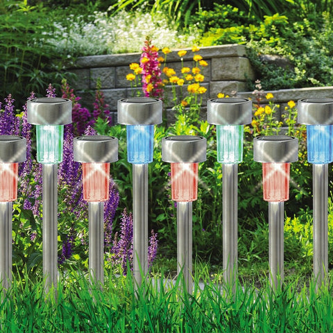 10 x COLOUR CHANGING STAINLESS STEEL SOLAR LED GARDEN LIGHTS RECHARGEABLE LAMPS