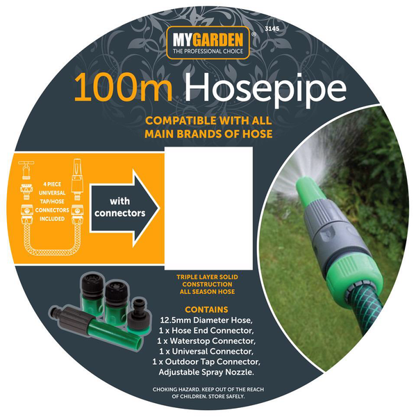 GARDEN HOSE PIPE REEL REINFORCED OUTDOOR HOSEPIPE GREEN 15M 30M 50M 75M 100M WITH FITTINGS
