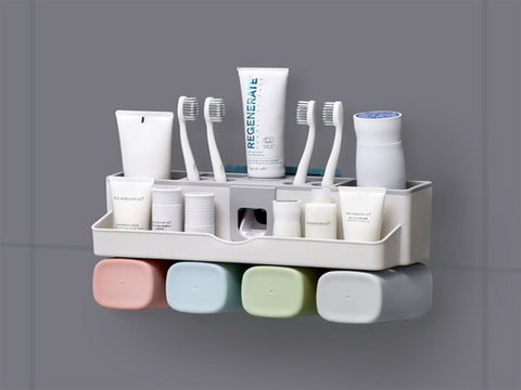 Wall Mounted Toothbrush Toothpaste Rack