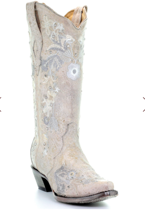 Corral Women's White Floral Embroidery & Crystals Boots