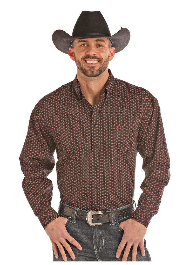 Panhandle Men's Long Sleeve Snap Poplin Print Shirt
