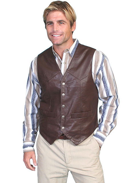Scully Men's Soft Touch Brown Leather Snap Front Vest