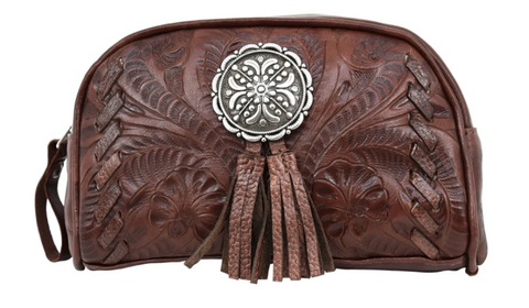 American West Hand Tooled Leather Cosmetic Cases