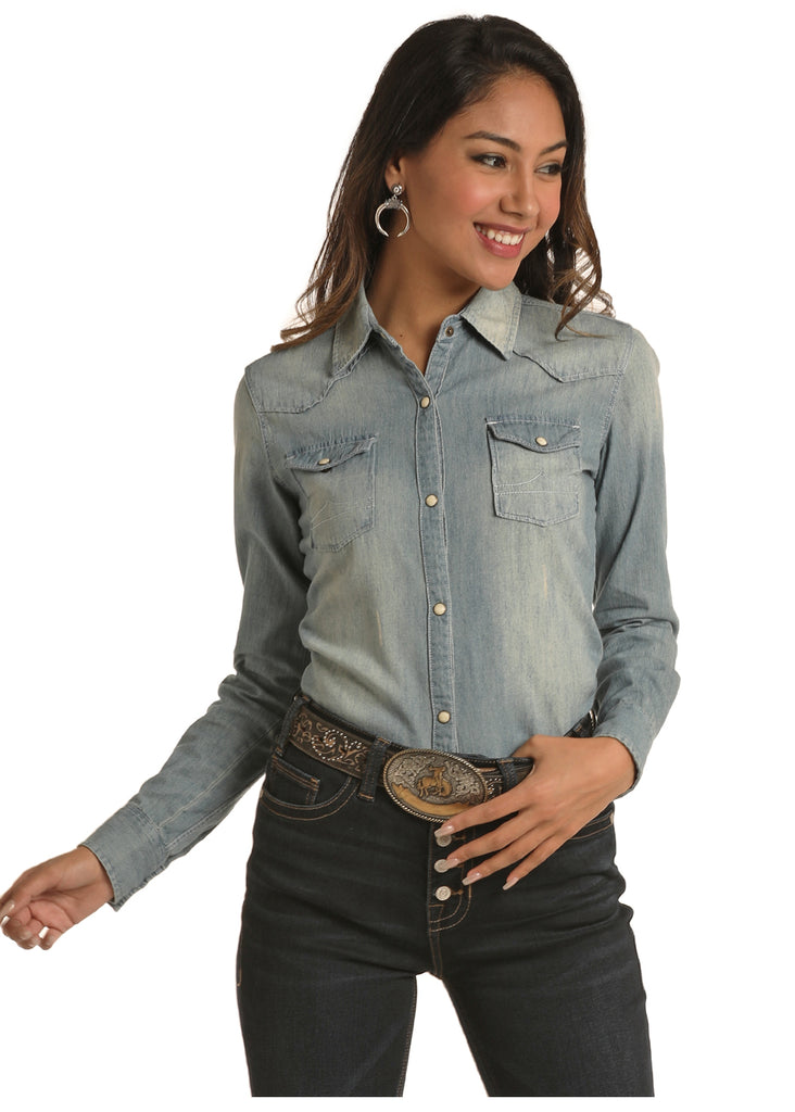 Panhandle Rock and Roll Cowgirl Denim Long Sleeve Snap Shirt