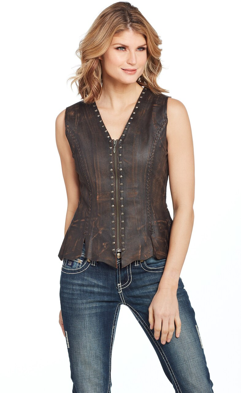 Cripple Creek Women's Studded Laced Leather Vest