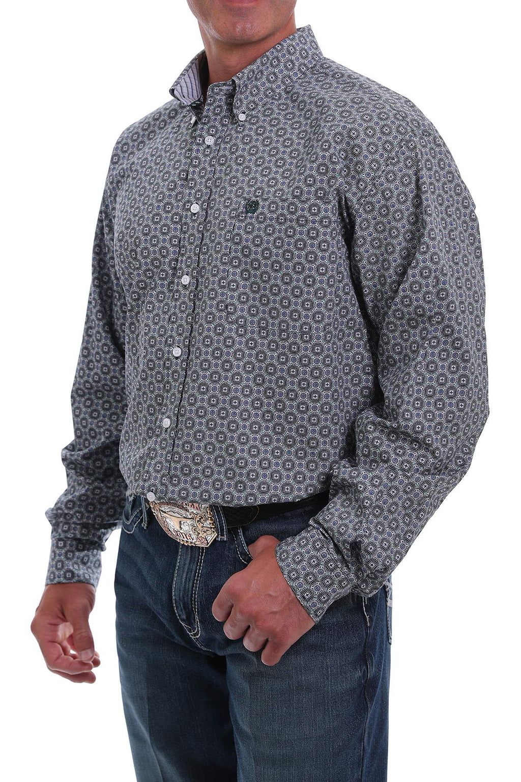 Cinch Men's Long Sleeve Blue & Black Print Shirt