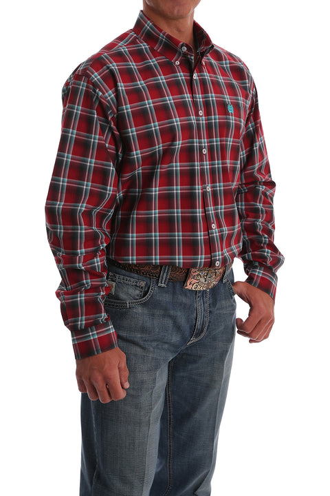 Cinch Men's Long Sleeve Button Down Red Plaid Shirt