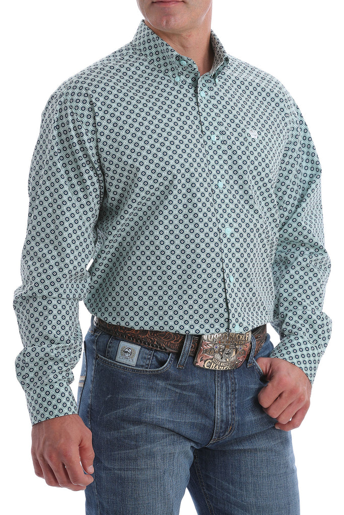 Cinch Men's Long Sleeve Aqua Geo Print Shirt