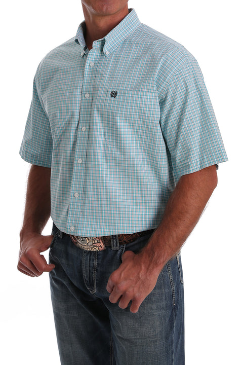 Cinch Men's Short Sleeve Light Blue Plaid Shirt