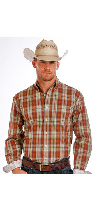 Panhandle Men's Rough Stock Chesterfield Antique Ombre Plaid Shirt R0D10330