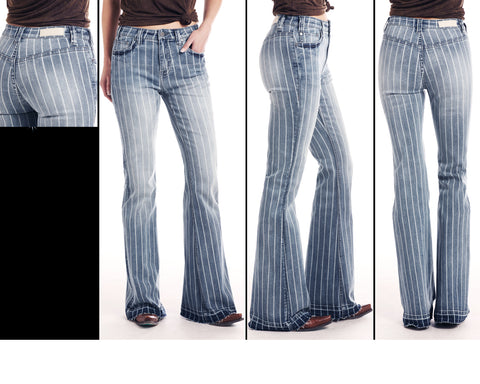 Panhandle Rock and Roll Women's Stripe Flare Denim Trouser