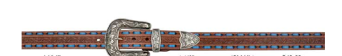 "Angel Ranch 1 1/2"" Ladies Brown Leather  Belt with Blue Lacing"