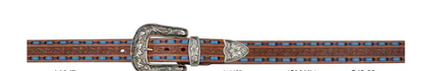 "Angel Ranch 1 1/2"" Ladies Brown Belt with Blue Lacing A6067"
