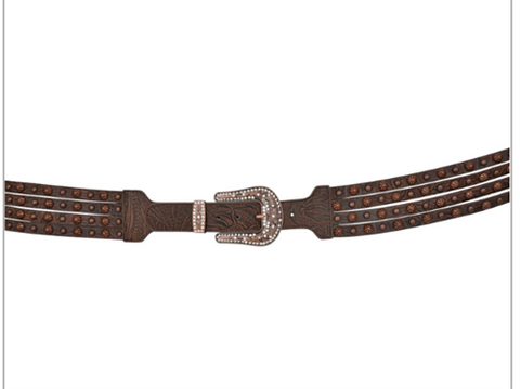 Angel Ranch 2 3/4 Ladies Brown Embossed Leather Belt with Copper Accents A5092