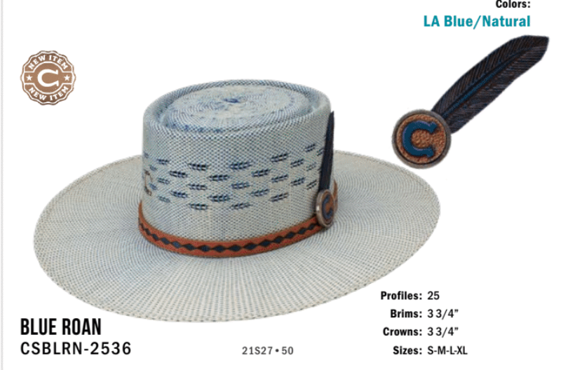 Charlie 1 Horse Blue Roan Flat Crown Straw Hat