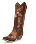 Corral Ladies Chocolate Lamb with Floral Embroidery Boots A3597