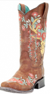 Corral Tan Deer Skull Floral Embroidery Square Toe Women's Boot A3708