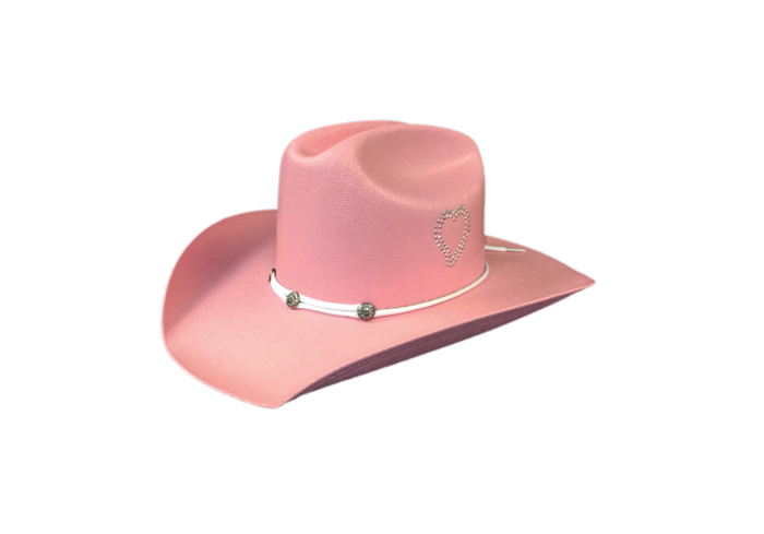 Dallas Hats Girls Pink or Cream Cowgirl Hat Rhinestone Heart