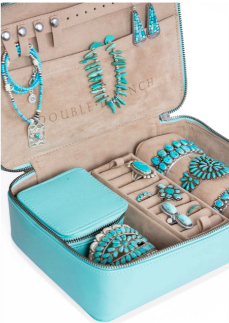 Double D Ranchwear Turquoise Leather Jewelry Case