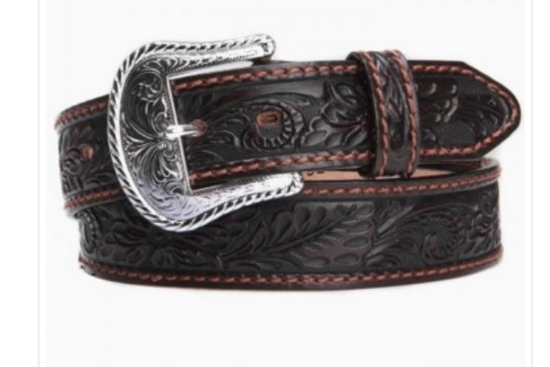 Tony Lama's Chocolate Brown Floral Tooled Men's Belt C40068