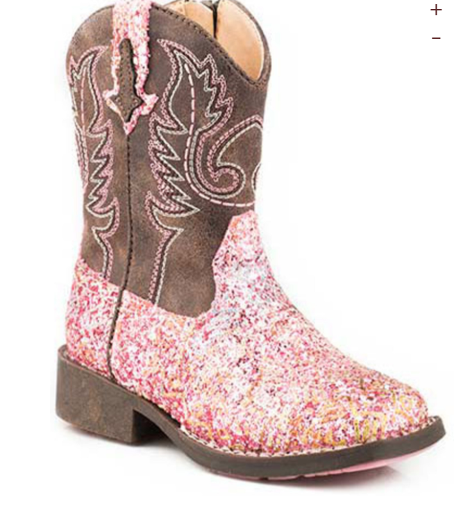 Roper Little Girls Pink Glitter Cowgirl Boots