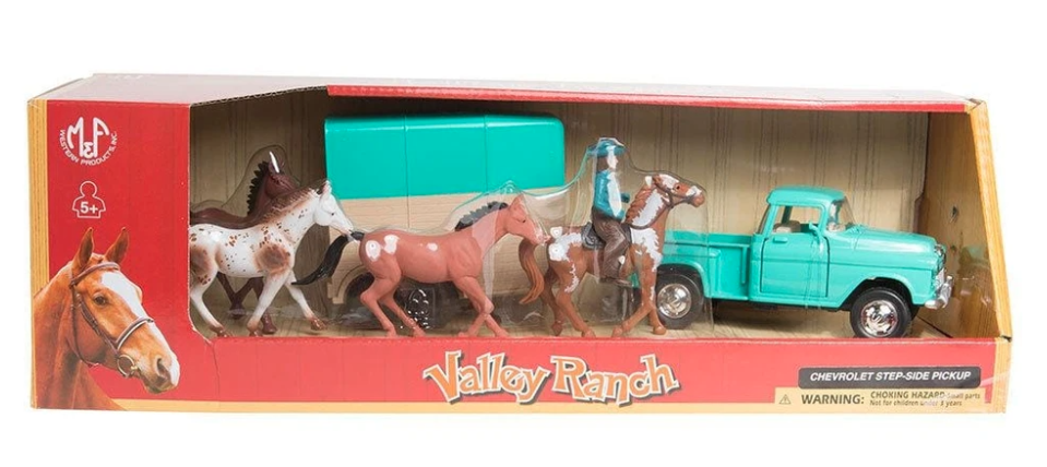 Children's Toy Pick Up Truck with Horse Trailer