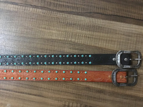 Women's Turquoise Studded Leather Belt