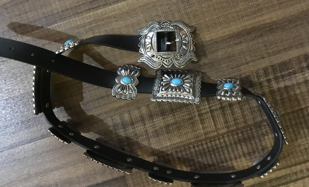 Women's Silver & Turquoise Concho Belt