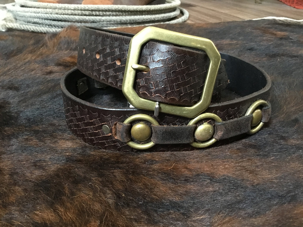 Joed Belt Embossed Brown Leather with Brass Rings and Studs