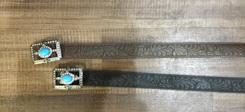 Women's Tooled Leather Belt with Rhinestone Buckle