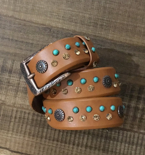Women's Leather Belt with Crystal & Turquoise Studs