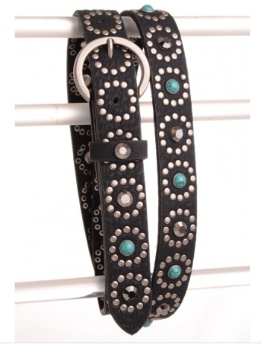 Leather Belt with Turquoise & Rhinestone Design