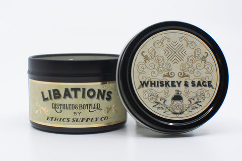 Libations Whiskey & Sage 4 oz Travel Candle