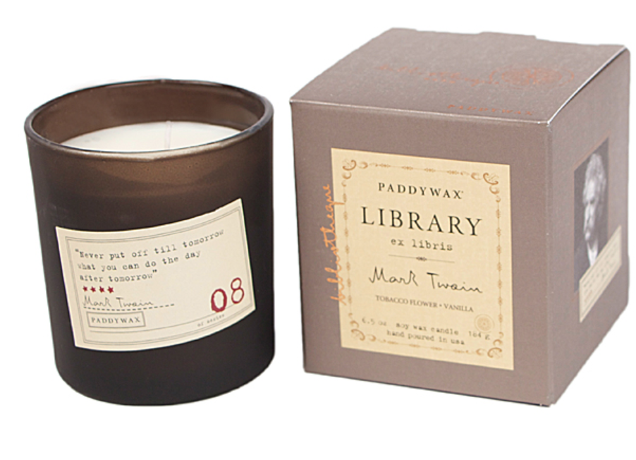 Paddywax Library Twain Boxed Glass Candle
