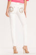 Miss Me Serenity White skinny jeans/peace sign sparkle pocket M3082S2