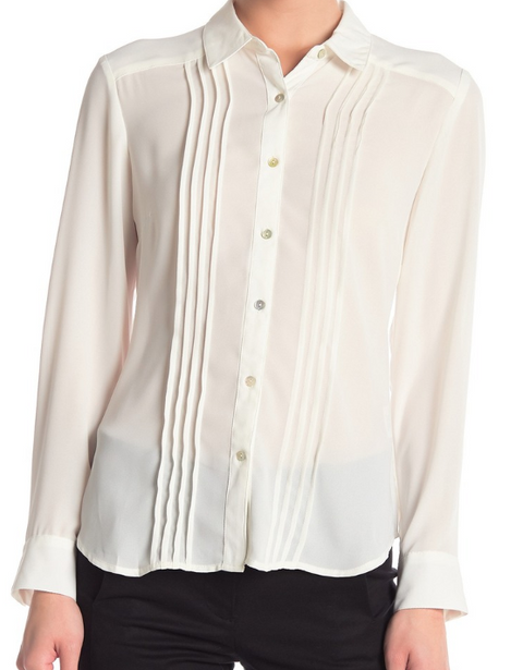 Nanette Lepore Cream Pintuck Long Sleeve Blouse