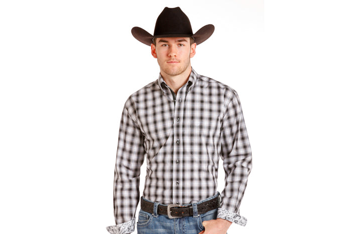 Panhandle Men's Gray & White Plaid shirt R0D4266