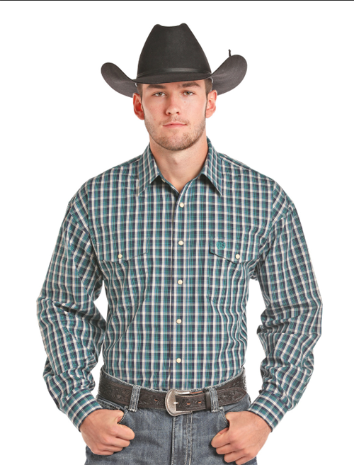 Panhandle Men's Plaid Long Sleeve Snap Shirt 36S7711