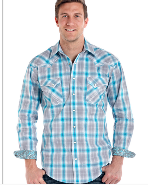 Panhandle Mens Rough Stock Long Sleeve Turquoise Plaid Shirt R0F8430