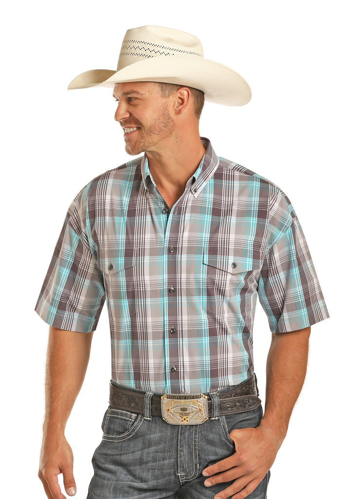Panhandle Rock & Roll Men's Short Sleeve Aqua Plaid Shirt