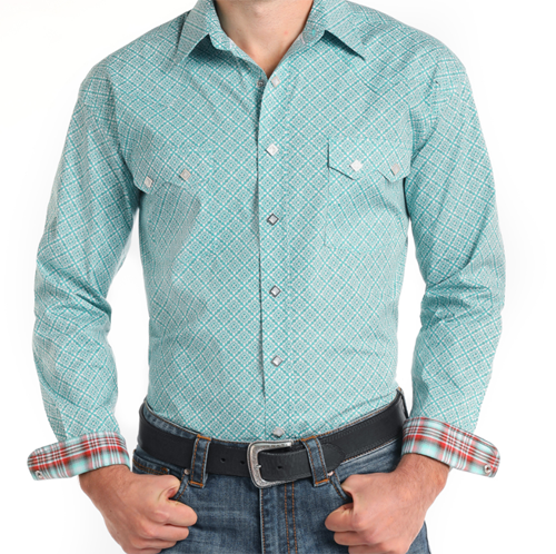 Panhandle Men's Shirt Turquoise Pattern Western Shirt R0S7572