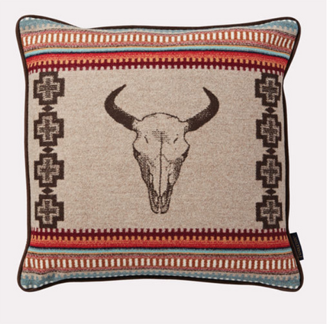 Pendleton American West Skull Print Wool Pillow