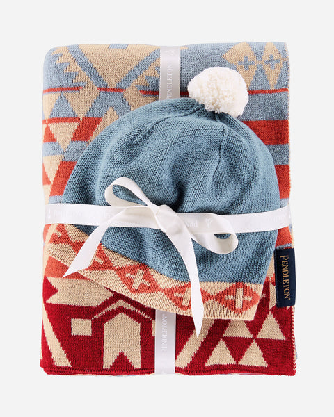 Pendelton Knit Baby Blanket with Beanie XM611