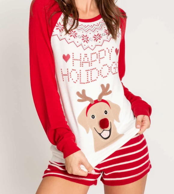 PJ Salvage Joyful Hearts Dog with Antlers Top