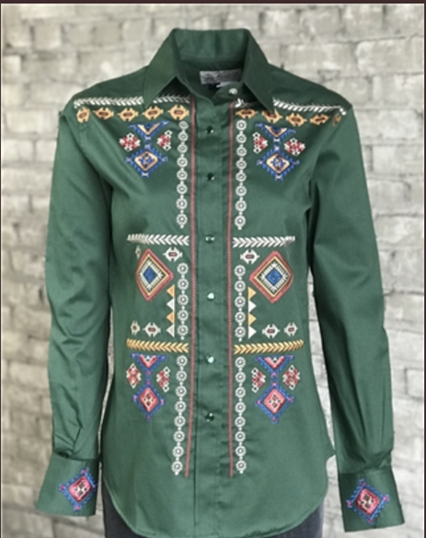 Rockmount Ranchwear Ladies Green Embroidered Shirt #7819