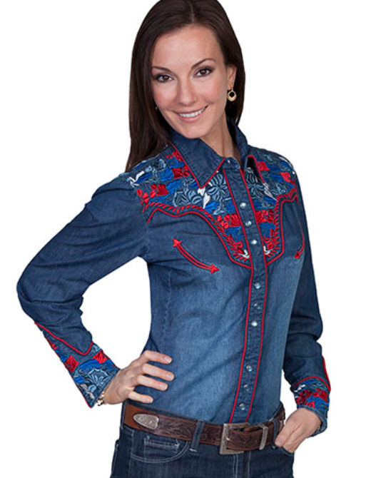 Scully Women's Denim Embroidered Western Shirt PL-654C