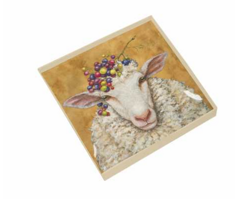 Vineyard Sheep Gift Boxed Square Plate